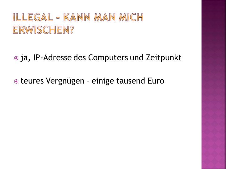 ja, IP-Adresse des Computers und Zeitpunkt teures Vergnügen – einige tausend Euro
