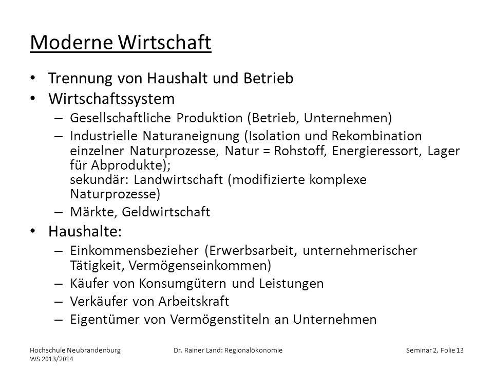 Moderne Wirtschaft Trennung von Haushalt und Betrieb Wirtschaftssystem – Gesellschaftliche Produktion (Betrieb, Unternehmen) – Industrielle Naturaneig