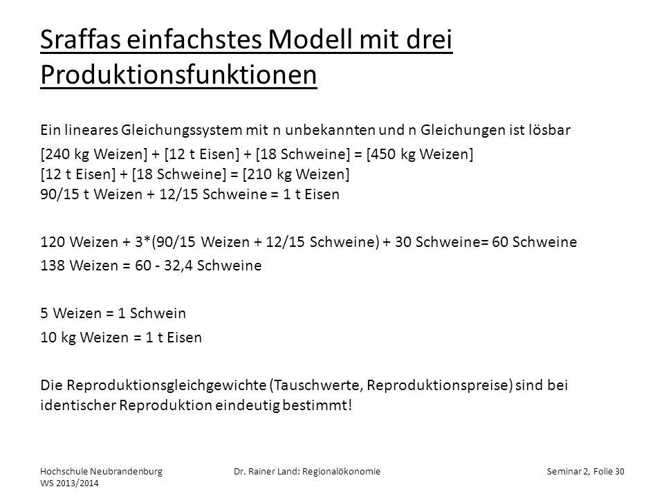 Sraffas einfachstes Modell mit drei Produktionsfunktionen Ein lineares Gleichungssystem mit n unbekannten und n Gleichungen ist lösbar [240 kg Weizen]