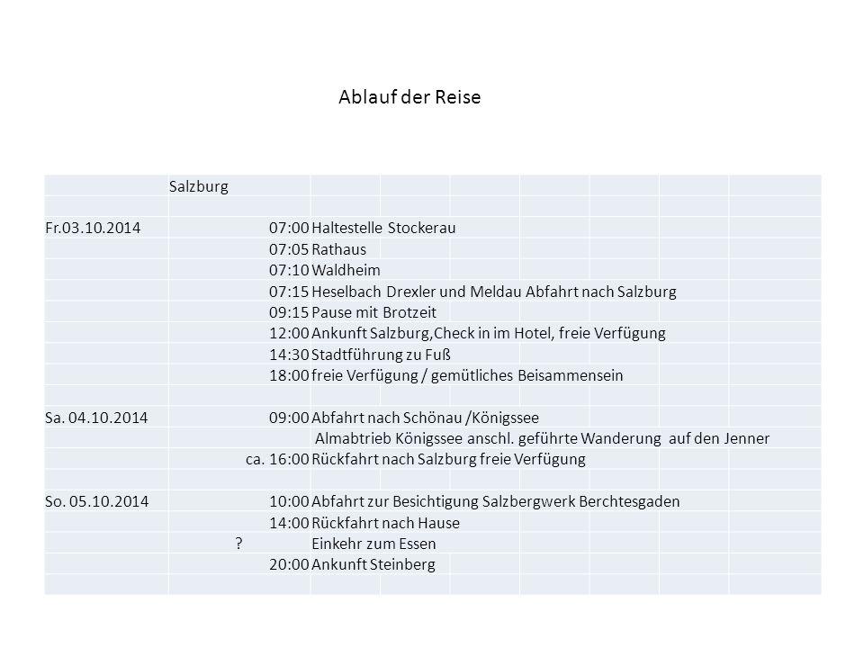 Salzburg Fr.03.10.201407:00Haltestelle Stockerau 07:05Rathaus 07:10Waldheim 07:15Heselbach Drexler und Meldau Abfahrt nach Salzburg 09:15Pause mit Bro