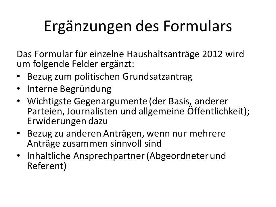 Ergänzungen des Formulars Das Formular für einzelne Haushaltsanträge 2012 wird um folgende Felder ergänzt: Bezug zum politischen Grundsatzantrag Inter