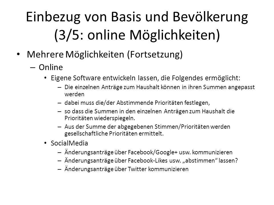 Einbezug von Basis und Bevölkerung (3/5: online Möglichkeiten) Mehrere Möglichkeiten (Fortsetzung) – Online Eigene Software entwickeln lassen, die Fol