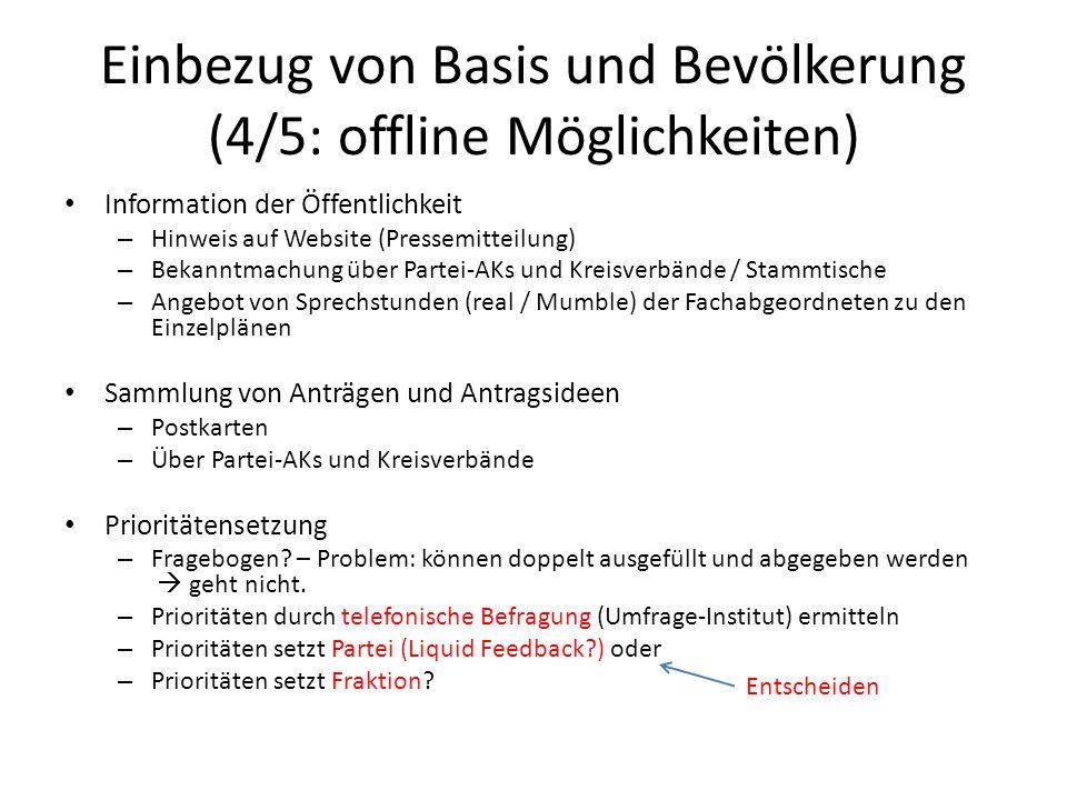 Einbezug von Basis und Bevölkerung (4/5: offline Möglichkeiten) Information der Öffentlichkeit – Hinweis auf Website (Pressemitteilung) – Bekanntmachu