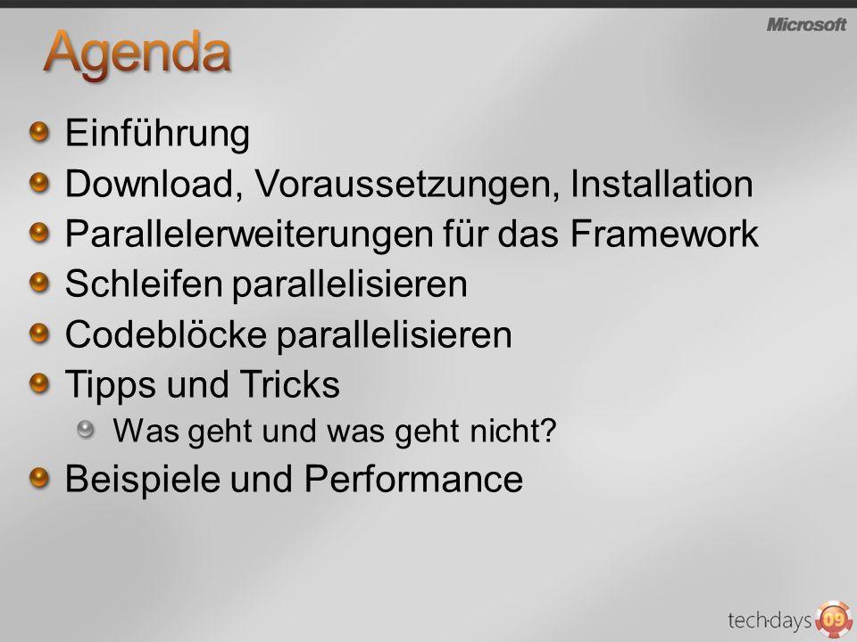 Einführung Download, Voraussetzungen, Installation Parallelerweiterungen für das Framework Schleifen parallelisieren Codeblöcke parallelisieren Tipps und Tricks Was geht und was geht nicht.