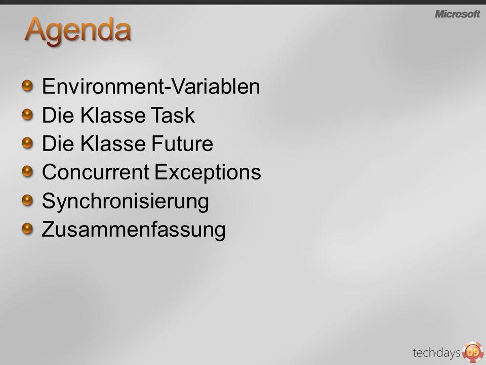 Environment-Variablen Die Klasse Task Die Klasse Future Concurrent Exceptions Synchronisierung Zusammenfassung
