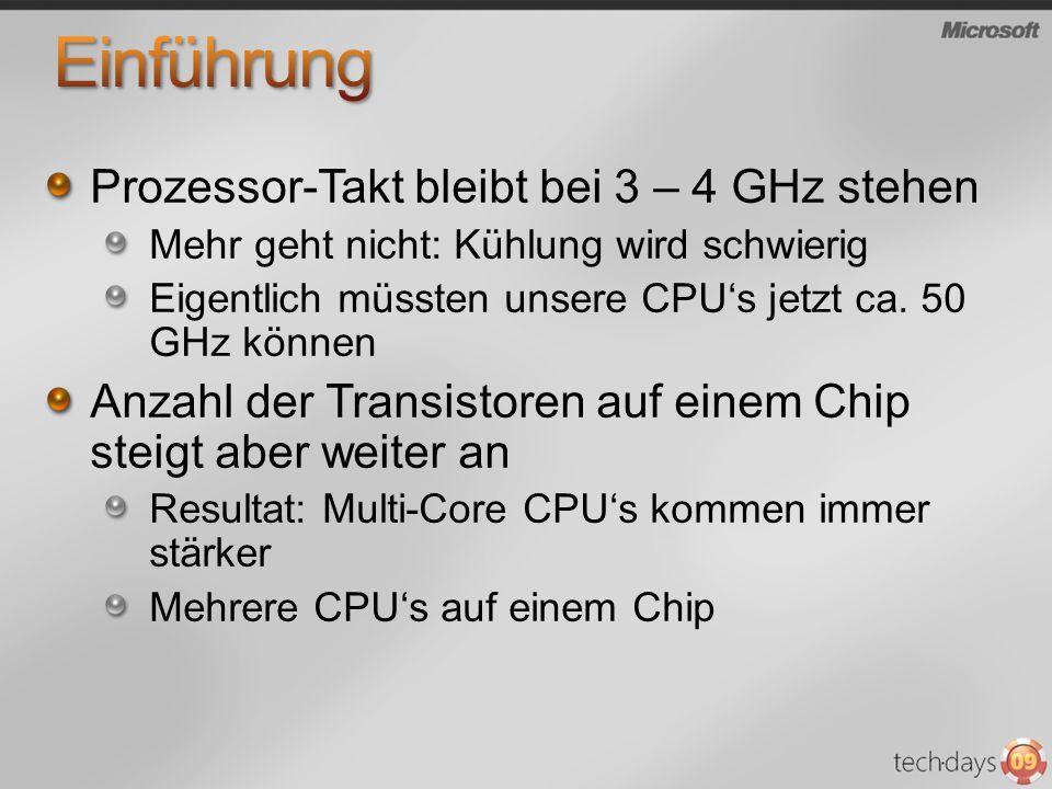 Prozessor-Takt bleibt bei 3 – 4 GHz stehen Mehr geht nicht: Kühlung wird schwierig Eigentlich müssten unsere CPUs jetzt ca.