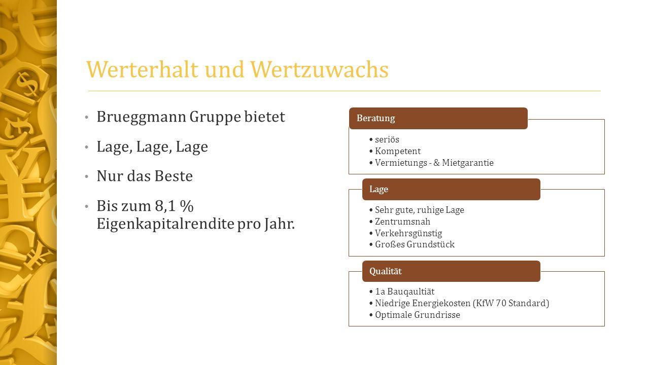Werterhalt und Wertzuwachs Brueggmann Gruppe bietet Lage, Lage, Lage Nur das Beste Bis zum 8,1 % Eigenkapitalrendite pro Jahr. seriös Kompetent Vermie