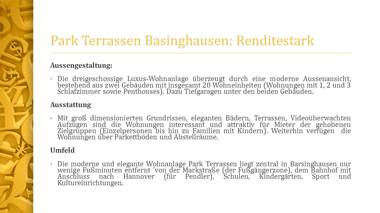 Park Terrassen Basinghausen: Renditestark Aussengestaltung: Die dreigeschossige Luxus-Wohnanlage überzeugt durch eine moderne Aussenansicht, bestehend