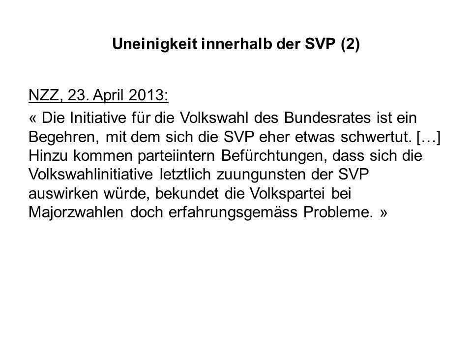 Uneinigkeit innerhalb der SVP (2) NZZ, 23.