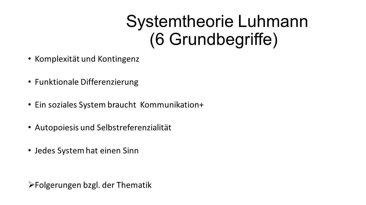 Systemtheorie Luhmann (6 Grundbegriffe) Komplexität und Kontingenz Funktionale Differenzierung Ein soziales System braucht Kommunikation+ Autopoiesis