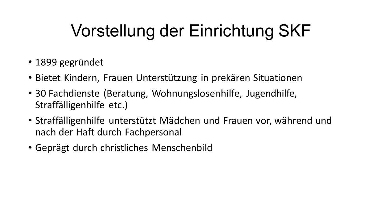 Vorstellung der Einrichtung SKF 1899 gegründet Bietet Kindern, Frauen Unterstützung in prekären Situationen 30 Fachdienste (Beratung, Wohnungslosenhil