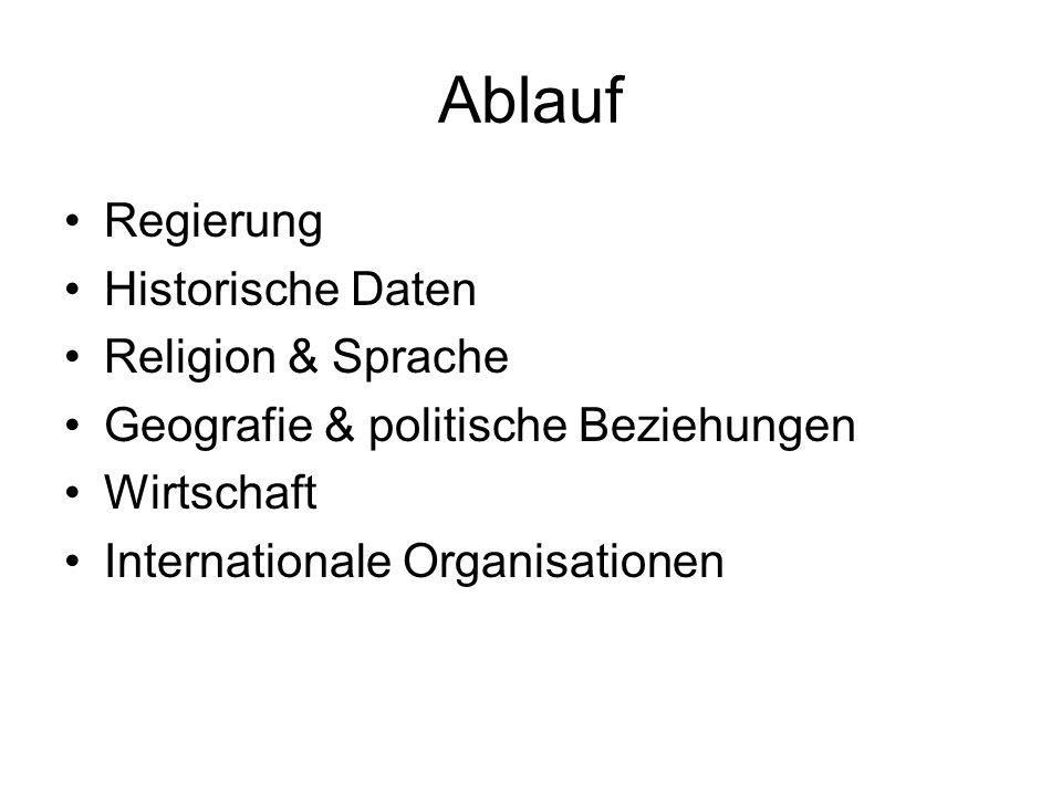 Ablauf Regierung Historische Daten Religion & Sprache Geografie & politische Beziehungen Wirtschaft Internationale Organisationen