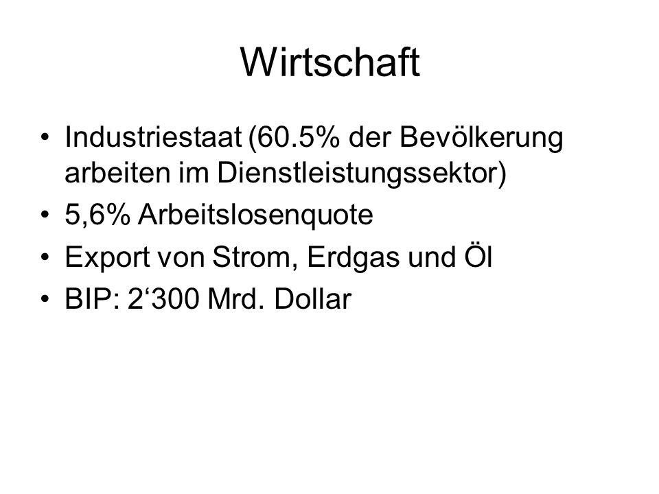 Wirtschaft Industriestaat (60.5% der Bevölkerung arbeiten im Dienstleistungssektor) 5,6% Arbeitslosenquote Export von Strom, Erdgas und Öl BIP: 2300 M