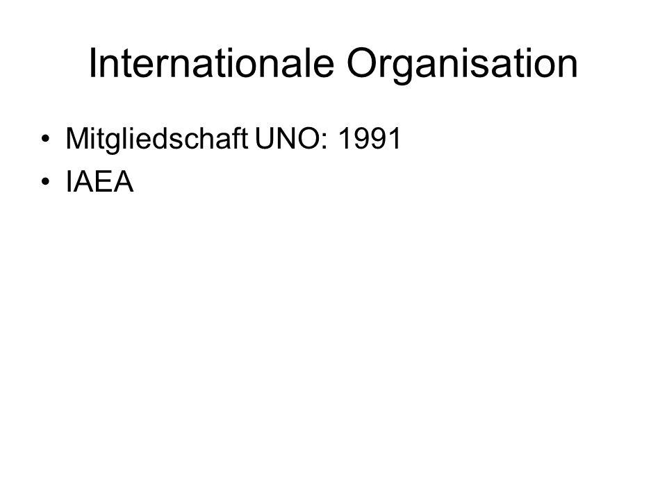 Internationale Organisation Mitgliedschaft UNO: 1991 IAEA