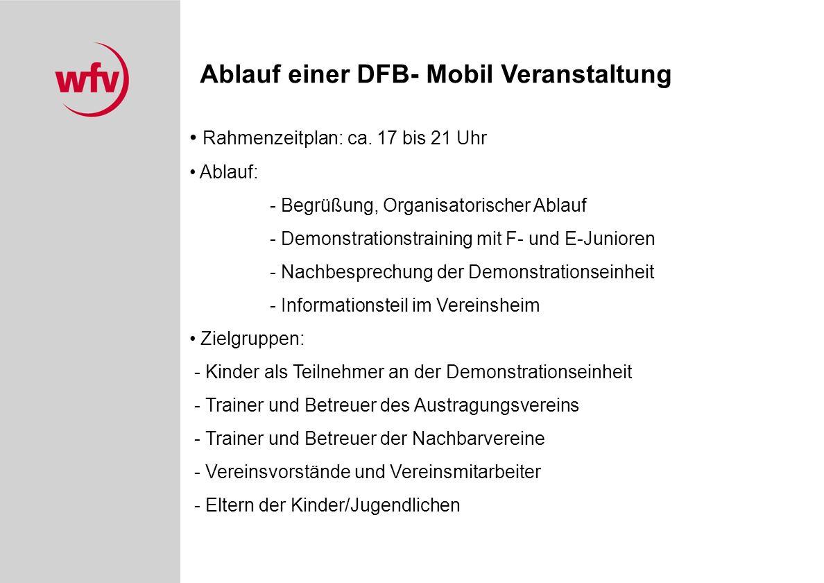 Ablauf einer DFB- Mobil Veranstaltung Rahmenzeitplan: ca.