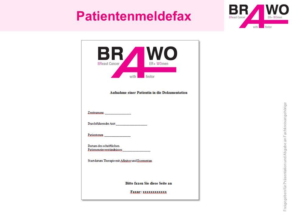 Patientenmeldefax Freigegeben für Präsentation und Abgabe an Fachkreisangehörige
