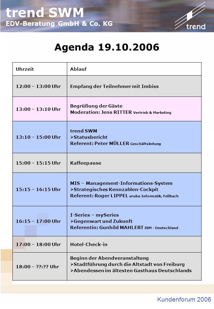 trend SWM EDV-Beratung GmbH & Co. KG Kundenforum 2006 Agenda 19.10.2006 UhrzeitAblauf 12:00 – 13:00 UhrEmpfang der Teilnehmer mit Imbiss 13:00 – 13:10