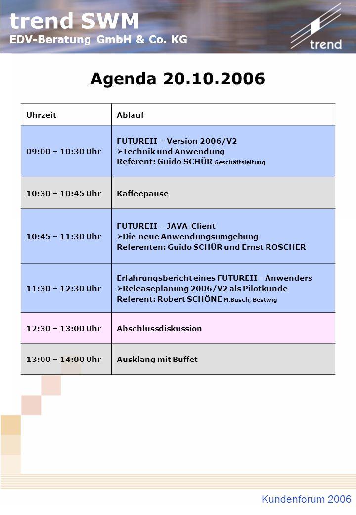 trend SWM EDV-Beratung GmbH & Co. KG Kundenforum 2006 Agenda 20.10.2006 UhrzeitAblauf 09:00 – 10:30 Uhr FUTUREII – Version 2006/V2 Technik und Anwendu