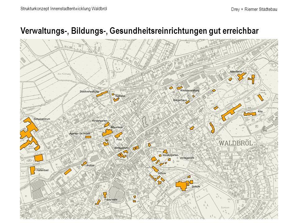 Drey + Riemer Städtebau Verwaltungs-, Bildungs-, Gesundheitsreinrichtungen gut erreichbar Strukturkonzept Innenstadtentwicklung Waldbröl