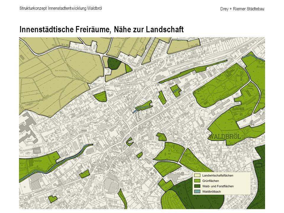 Drey + Riemer Städtebau Innenstädtische Freiräume, Nähe zur Landschaft Strukturkonzept Innenstadtentwicklung Waldbröl