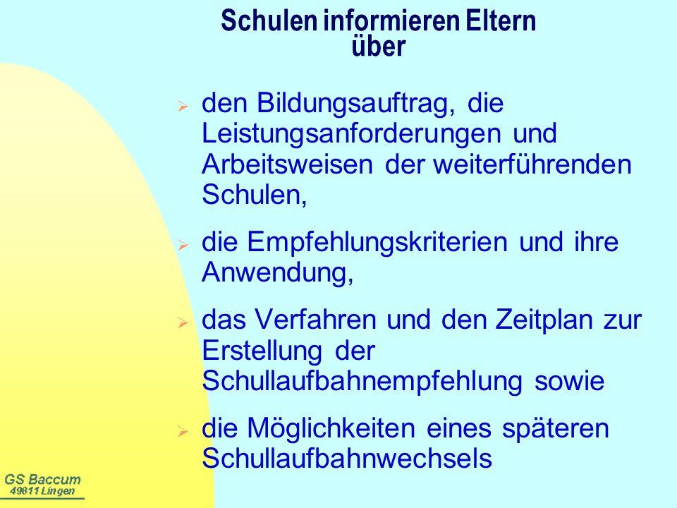 Zeitlicher Ablauf Vorläufige Schullaufbahnempfehlung Ende 1.Halbj.
