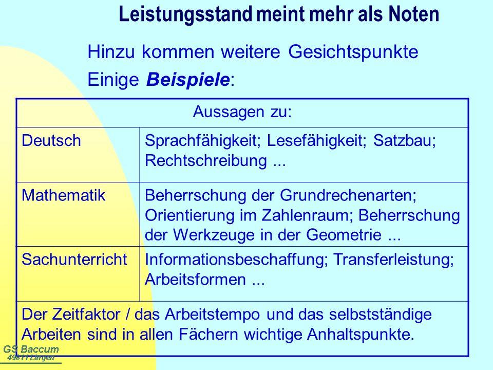 Leistungsstand meint mehr als Noten Hinzu kommen weitere Gesichtspunkte Einige Beispiele: Aussagen zu: DeutschSprachfähigkeit; Lesefähigkeit; Satzbau;
