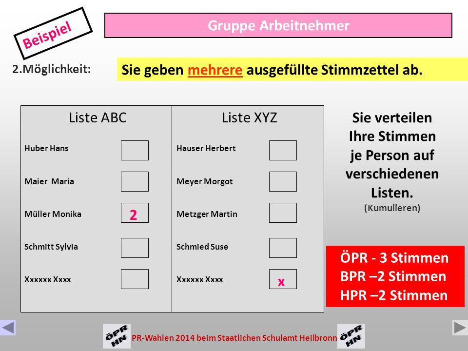 PR-Wahlen 2014 beim Staatlichen Schulamt Heilbronn 9 Liste ABC Huber Hans Maier Maria Müller Monika Schmitt Sylvia Gruppe Arbeitnehmer Beispiel 1.Möglichkeit: Sie verteilen bis zu 3 Stimmen je Person.