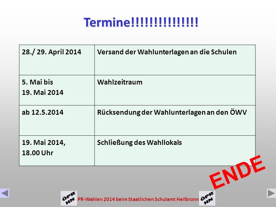 PR-Wahlen 2014 beim Staatlichen Schulamt Heilbronn 14 Es wird in geheimer Wahl gewählt.