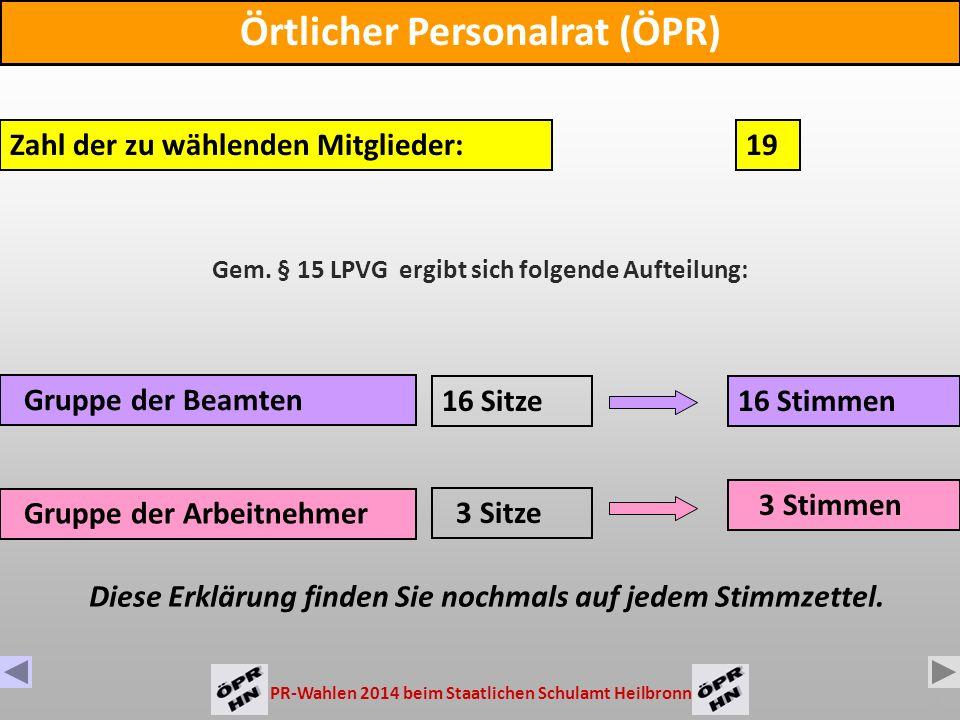 PR-Wahlen 2014 beim Staatlichen Schulamt Heilbronn 2 Sie wählen 3 Gremien Sie wählen 3 Gremien: Örtlicher Personalrat (ÖPR) Bezirkspersonalrat (BPR) Hauptpersonalrat (HPR)