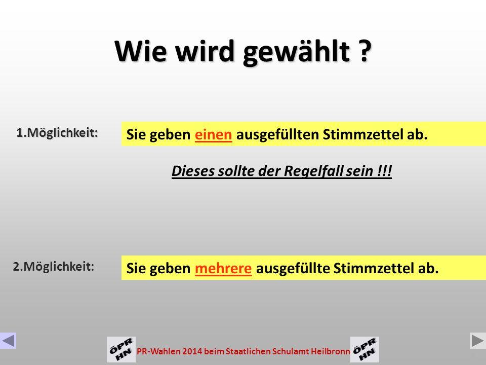 PR-Wahlen 2014 beim Staatlichen Schulamt Heilbronn 5 Zahl der zu wählenden Mitglieder: Gruppe der Arbeitnehmer Gruppe der Beamten 2 Sitze 17 Sitze Hauptpersonalrat (HPR) 19 17 Stimmen 2 Stimmen Gem.