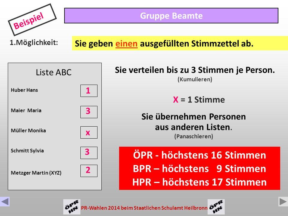 PR-Wahlen 2014 beim Staatlichen Schulamt Heilbronn 6 Wie wird gewählt .