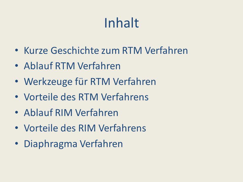 Inhalt Kurze Geschichte zum RTM Verfahren Ablauf RTM Verfahren Werkzeuge für RTM Verfahren Vorteile des RTM Verfahrens Ablauf RIM Verfahren Vorteile d