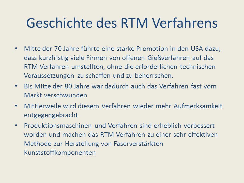 Geschichte des RTM Verfahrens Mitte der 70 Jahre führte eine starke Promotion in den USA dazu, dass kurzfristig viele Firmen von offenen Gießverfahren