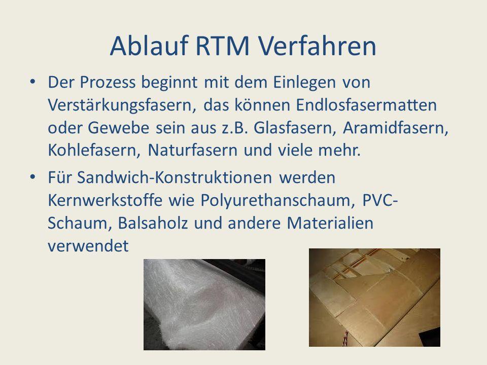 Ablauf RTM Verfahren Nach Einlage der Armierungsmaterialien und Sandwichstoffe wird die Form geschlossen Das Harz-Härter Gemisch wird über einen oder mehrere Harzinjektionspots in die Form gespritzt Zuvor kann auch Vakuum in der Form angelegt werden um den Harzfluss zu verbessern