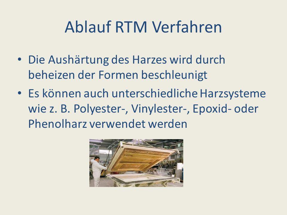 Ablauf RTM Verfahren Die Aushärtung des Harzes wird durch beheizen der Formen beschleunigt Es können auch unterschiedliche Harzsysteme wie z. B. Polye