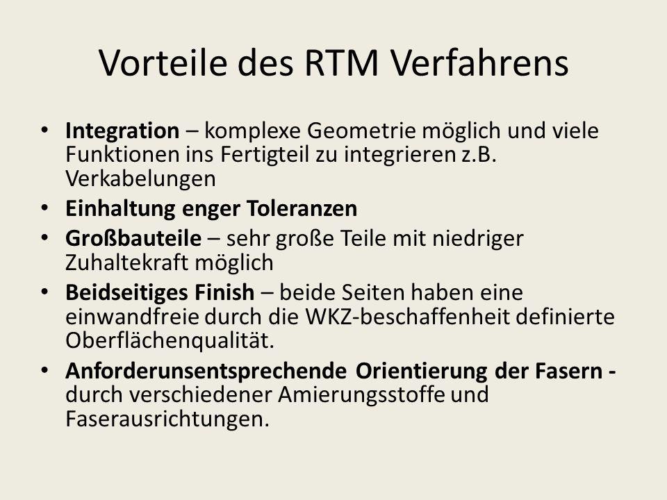 Vorteile des RTM Verfahrens Integration – komplexe Geometrie möglich und viele Funktionen ins Fertigteil zu integrieren z.B. Verkabelungen Einhaltung