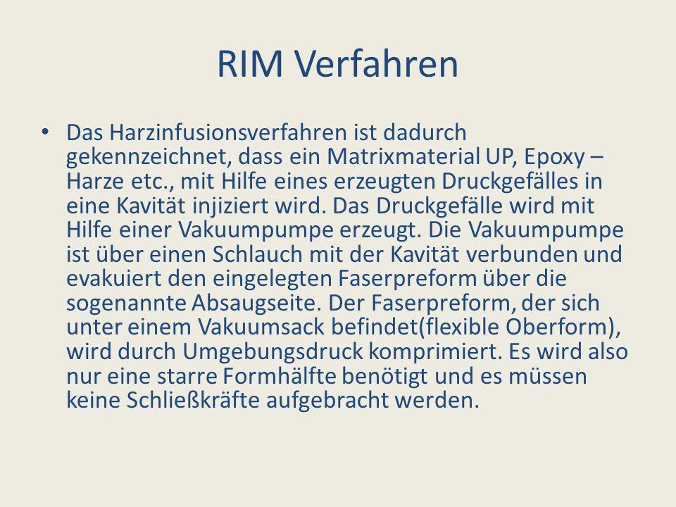 RIM Verfahren Das Harzinfusionsverfahren ist dadurch gekennzeichnet, dass ein Matrixmaterial UP, Epoxy – Harze etc., mit Hilfe eines erzeugten Druckge