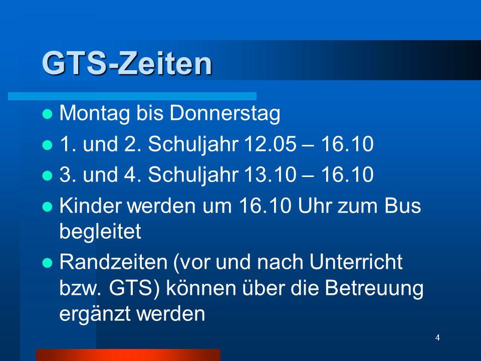 GTS-Zeiten Montag bis Donnerstag 1. und 2. Schuljahr 12.05 – 16.10 3. und 4. Schuljahr 13.10 – 16.10 Kinder werden um 16.10 Uhr zum Bus begleitet Rand