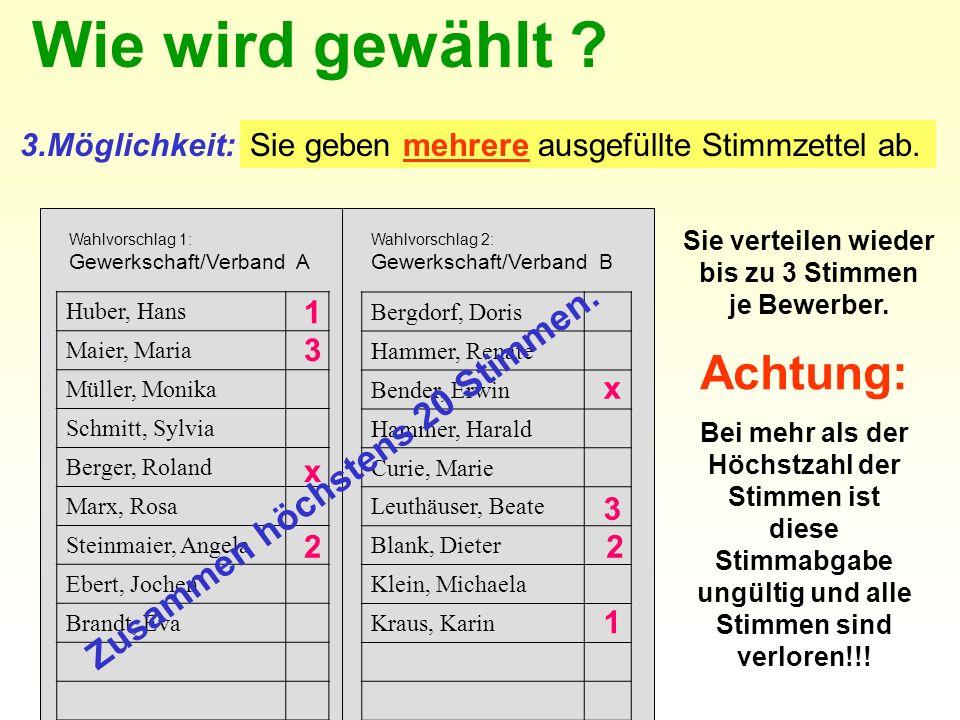 3.Möglichkeit:Sie geben mehrere ausgefüllte Stimmzettel ab. Sie verteilen wieder bis zu 3 Stimmen je Bewerber. Huber, Hans Maier, Maria Müller, Monika
