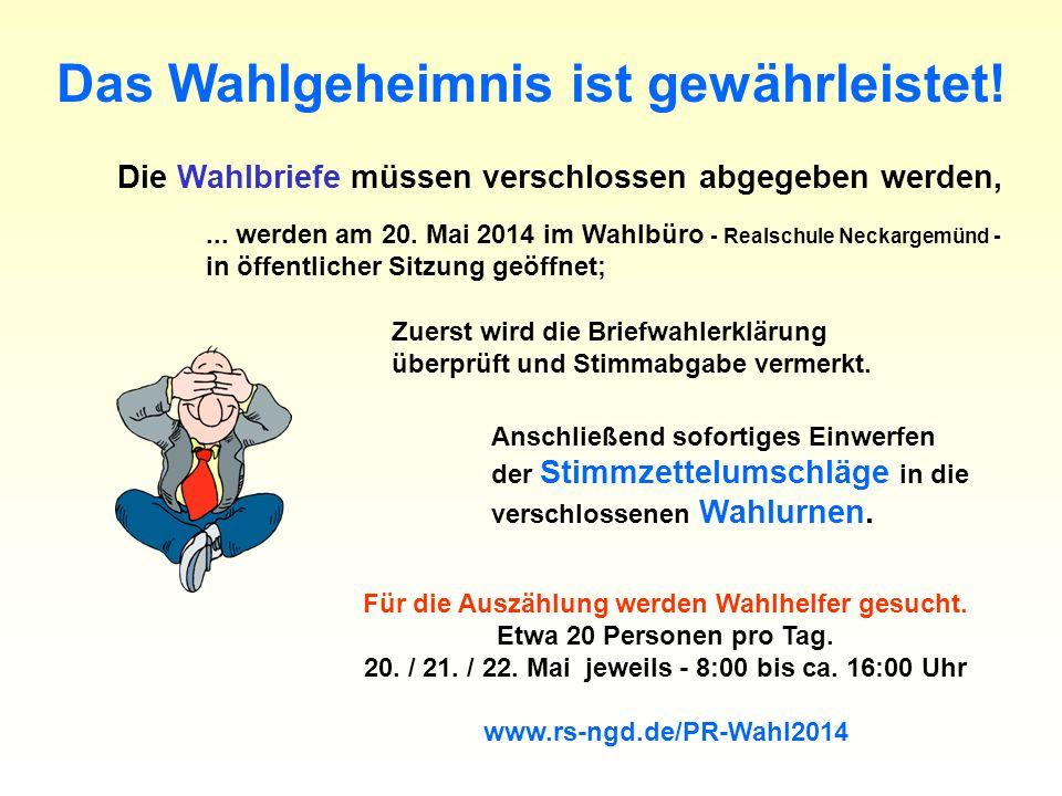 Das Wahlgeheimnis ist gewährleistet! Die Wahlbriefe müssen verschlossen abgegeben werden,... werden am 20. Mai 2014 im Wahlbüro - Realschule Neckargem