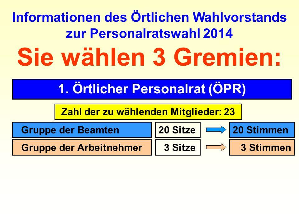 Sie wählen 3 Gremien: 1. Örtlicher Personalrat (ÖPR) Informationen des Örtlichen Wahlvorstands zur Personalratswahl 2014 Zahl der zu wählenden Mitglie
