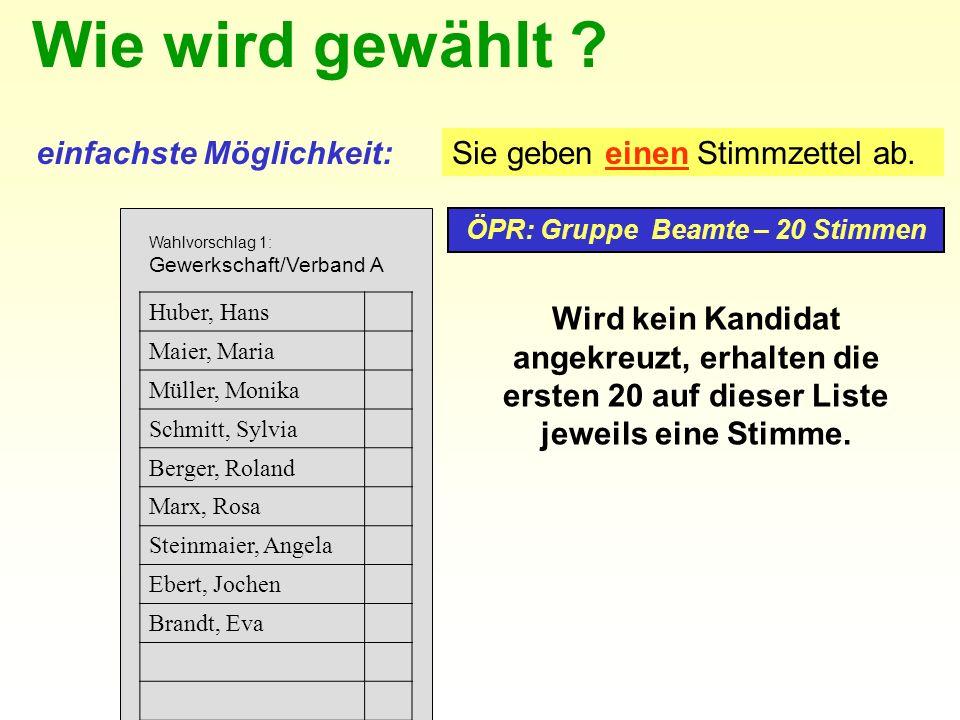 Wahlvorschlag 1: Gewerkschaft/Verband A ÖPR: Gruppe Beamte – 20 Stimmen einfachste Möglichkeit: Wird kein Kandidat angekreuzt, erhalten die ersten 20