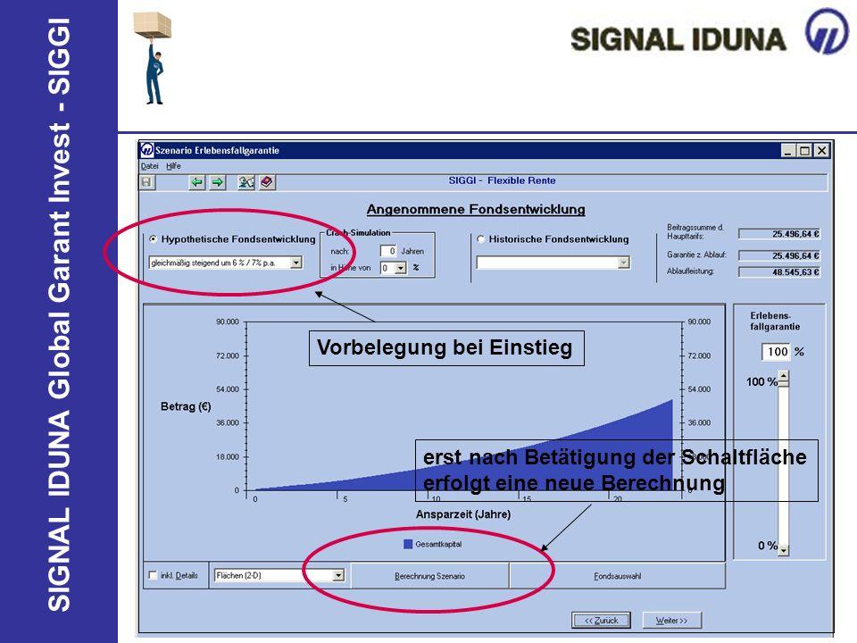 SIGNAL IDUNA Global Garant Invest - SIGGI Vorbelegung bei Einstieg erst nach Betätigung der Schaltfläche erfolgt eine neue Berechnung