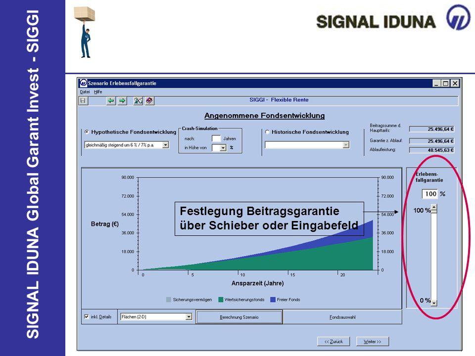 SIGNAL IDUNA Global Garant Invest - SIGGI Festlegung Beitragsgarantie über Schieber oder Eingabefeld