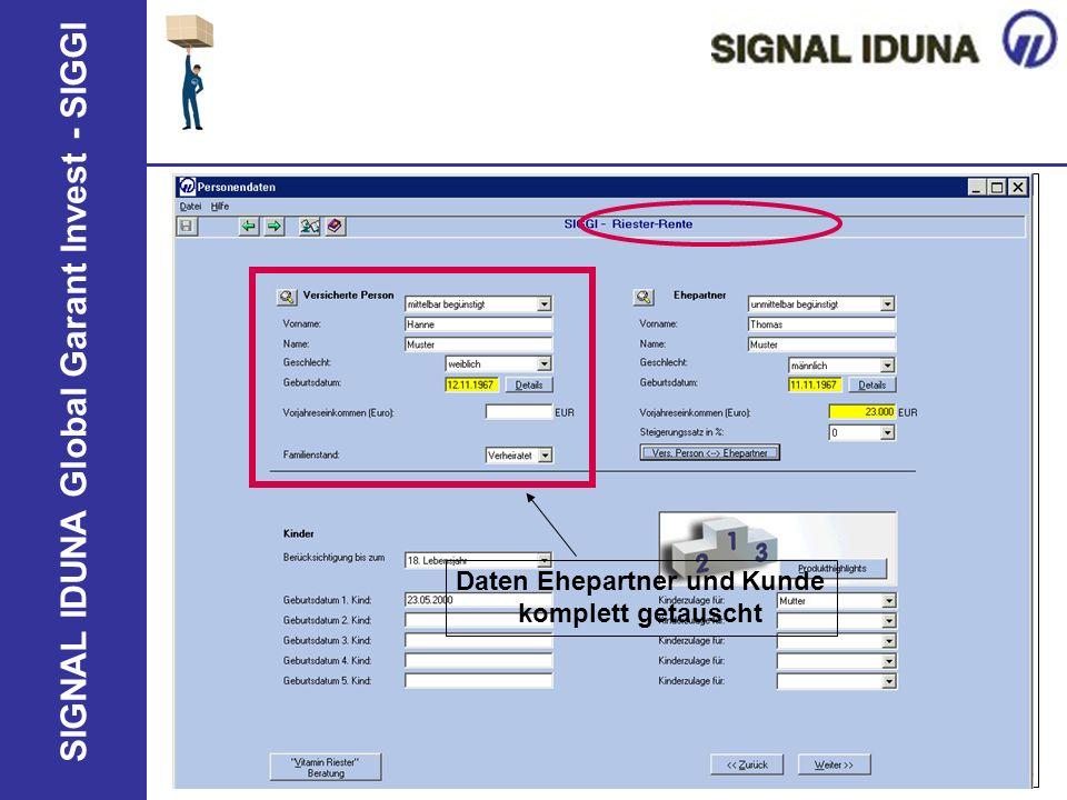 SIGNAL IDUNA Global Garant Invest - SIGGI Daten Ehepartner und Kunde komplett getauscht