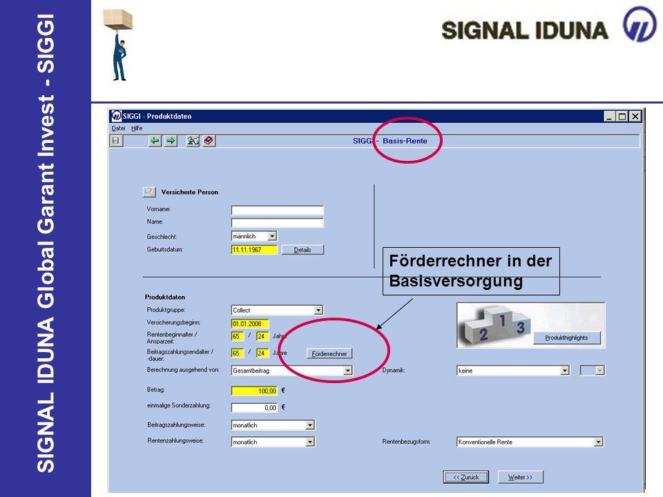 SIGNAL IDUNA Global Garant Invest - SIGGI Förderrechner in der Basisversorgung