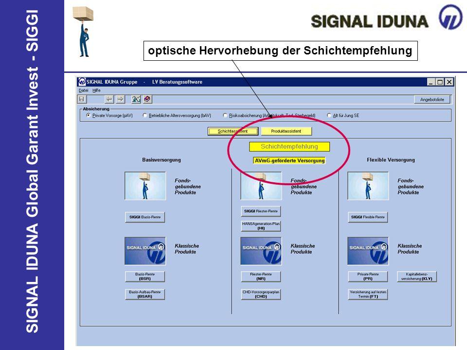 SIGNAL IDUNA Global Garant Invest - SIGGI optische Hervorhebung der Schichtempfehlung