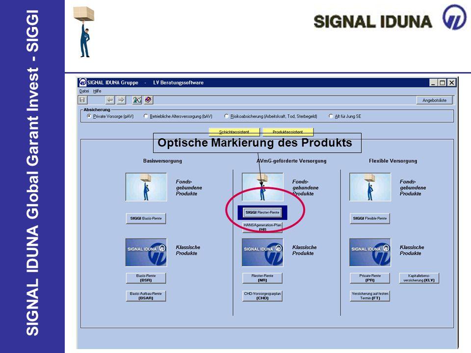 SIGNAL IDUNA Global Garant Invest - SIGGI Optische Markierung des Produkts