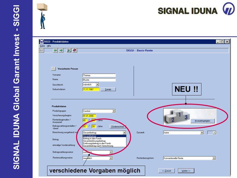 SIGNAL IDUNA Global Garant Invest - SIGGI NEU !! verschiedene Vorgaben möglich