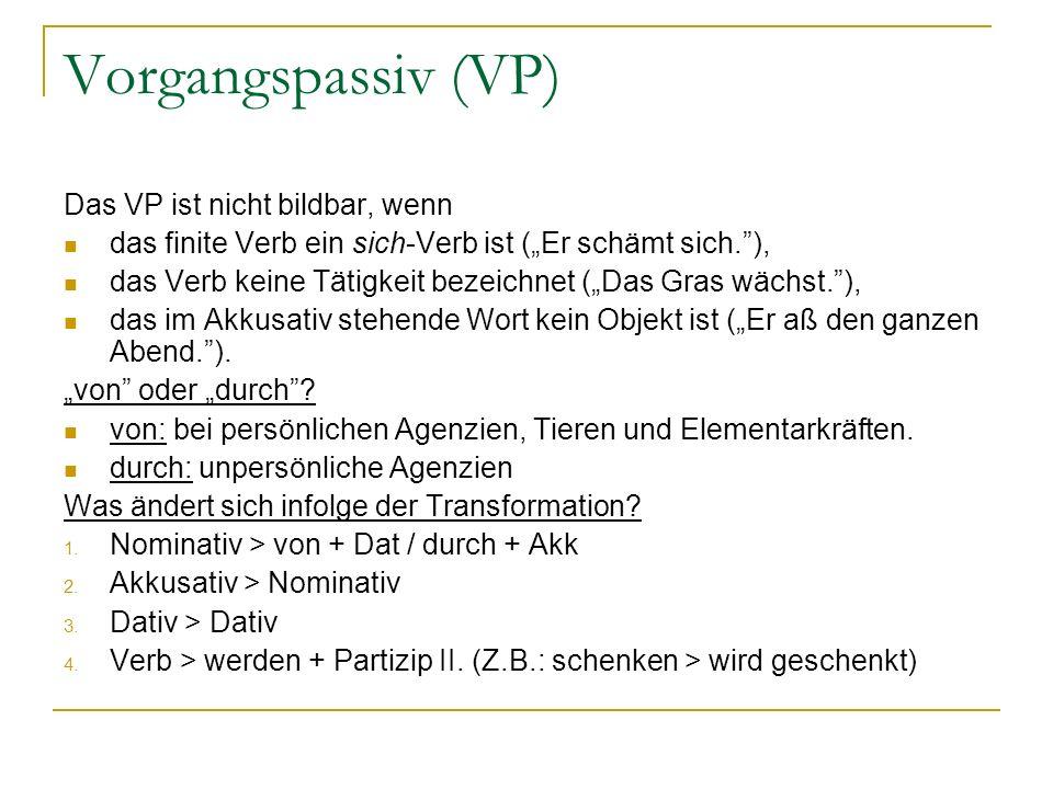 Vorgangspassiv (VP) Das VP ist nicht bildbar, wenn das finite Verb ein sich-Verb ist (Er schämt sich.), das Verb keine Tätigkeit bezeichnet (Das Gras